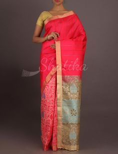 Jhanavi Half And Half Stripe And Ornate Pure #PattuSilkSaree