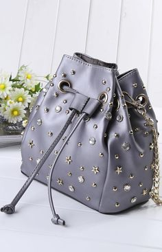 Gray Rhinestone And Star Embellished Stud Drawstring Bucket Shoulder Bag