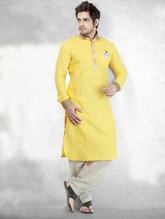 Shop Plain yellow cotton festive wear Men Pathani Suit online from G3fashion India. Brand - G3, Product code - G3-MPS0219, Price - 5595, Color - Yellow, Fabric - Cotton,