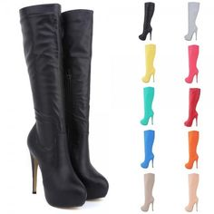 d986f87e7271 Fashion Womens High Heels Knee Wide Leg Stretch Boots Winter Shoes US Size