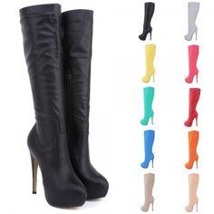 322abfa3fd5b Fashion Womens High Heels Knee Wide Leg Stretch Boots Winter Shoes US Size
