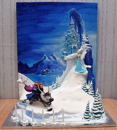 Disney's Frozen, by Russian cake artist Jane Zubova of Artcake. Disney Frozen Party, Tarta Frozen Disney, Disney Cakes, Torte Frozen, Frozen Theme Cake, Frozen Birthday Cake, Birthday Cake Girls, Elsa Cakes, Bolo Cake