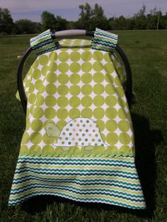 Check out this item in my Etsy shop https://www.etsy.com/listing/235506425/infant-car-seat-canopy-with-appliqued
