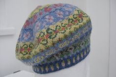 handknitted Fairisle beret in 100 per cent wool by SloweTams  What a gorgeous colour selection!