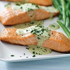 Grilled Salmon with Creamy Pesto Sauce Recipe from our friends at Philadelphia Cream Cheese