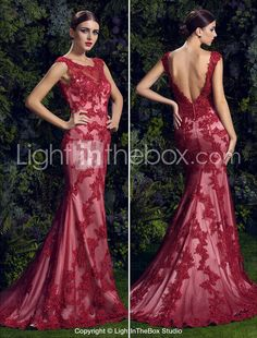 Homecoming TS Couture Formal Evening Dress - Ruby Trumpet/Mermaid Scoop Court Train Lace 2015 – $347.99