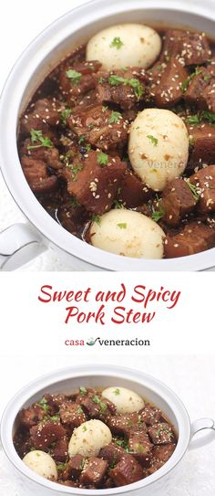 Take the recipe for Korean beef stew a la House of Kimchi, substitute pork belly for the beef and you have a holiday-perfect sweet and spicy pork stew. Korean Beef Recipes, Meat Recipes, Korean Recipes, Cooking Recipes, Gumbo Recipes, Pork Stew Meat, Work Meals, Pork Belly, Pinterest Recipes