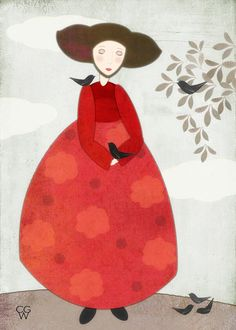 Folk Art Illustration - Amelia and the Birds Wall Decor Art Print 5x7