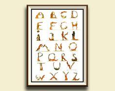 PRINT-Woodland alphabet - aniamal Letters - fox bear Raccoon hare squirrel - Forest animal watercolor print  - Art Print by Juan Bosco by SanMartinArtsCrafts on Etsy https://www.etsy.com/listing/257747942/print-woodland-alphabet-aniamal-letters