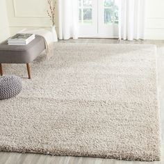 $72 Safavieh California Cozy Solid Beige Shag Rug (4' x 6') | Overstock.com Shopping - The Best Deals on 3x5 - 4x6 Rugs