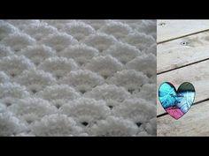 Punto abanicos en relieve tejido a crochet - YouTube Afghan Blanket, Baby Blanket Crochet, Crochet Baby, Stitch Crochet, Crochet Stitches, Crochet Patterns, Christening Blanket, Crochet Girls, Crochet Tablecloth