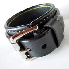 Leather cuff wristband Black Bracelet with by MataraCustomLeather