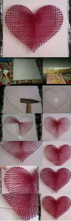 Creative Diy String Art Ideas Projects (Step-By-Step Tutorial) Fun Crafts, Diy And Crafts, Arts And Crafts, Wood Crafts, Nail String Art, Heart Diy, Nail Heart, Ideias Diy, Pretty Designs