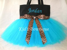 Monogrammed Tutu Tote Bag with Leopard Ribbon by kidsbowtique