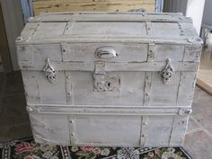 old domed top trunk painted white Painted Trunk, Steamer Trunk, Bear Doll, Suitcases, Cool Furniture, Storage Chest, Primitive, Vintage Items, Trunks