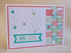 InvisiblePinkCards: Stampin' Up Banner Blast, Gorgeous Grunge and Yippee-Skippee in Crisp Cantaloupe, Coastal Cabana and Pistachio Pudding