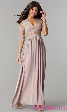 Image of long formal prom dress with low v-neck and sleeves. Style: SOI-D16727 Front Image