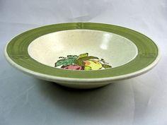"Metlox Poppytrail PROVINCIAL FRUIT GREEN Fruit Dessert Bowl 6.25"" USA (Set of 7) #MetloxPoppytrail"