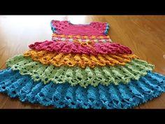 Paso a paso para tejer este vestido de 4 olanes para niña entre 7 y 8 años fácil y muy bonito.
