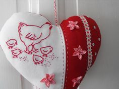 Red & White Heart Ornament with chicken. Love those little stars...I wonder how they are made?