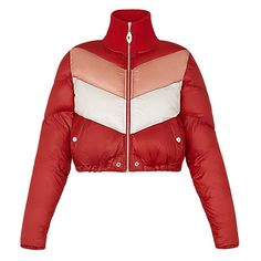 Tricolor Down Jacket With Knitted Collar ($2,440) ❤ liked on Polyvore featuring outerwear, jackets, silver bomber jacket, red jacket, cropped jacket, silver jacket and embellished bomber jacket