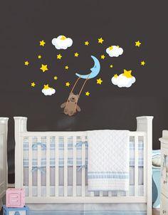 Moon Stars and Teddy Bear wall decal Removable by MyNurseryWonders, $32.00