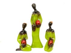 Vintage African Women Woman, 3 Mid Century African Women Figurines Statue, Green Gold Red,  African Tribal Decor, Vintage African Figurines by TheVintagePorch on Etsy