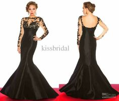 Wholesale Long Sleeve Prom Dresses - Buy 2014 Fancy Appliqued Prom Dresses Sheer High Neck Long Sleeve Backless Mermaid Chapel Train Stretch Satin Black Evening Gowns 20131010, $159.0 | DHgate