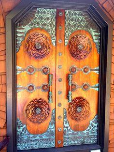 Copper ornamentation door. Waimanalo, Hawaii, USA