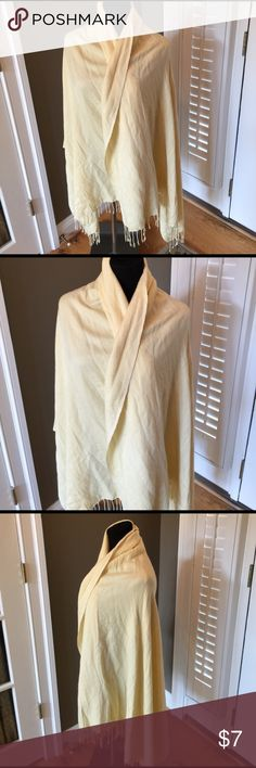 """GOLDEN BRAND BUTTER YELLOW CASHMERE? Wrap PASHMINA Great vtg pashmina measures 74"""" by 36"""" golden Accessories Scarves & Wraps"""