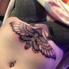 Big Moth Black and Gray Underboob Tattoo