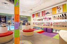 Read the latest on store designs, openings, and retail environments. Discover best-selling in-store retail products. Kids Shoe Stores, Retail Store Design, Environmental Graphics, Retail Space, Visual Merchandising, Footwear, Concept, Spaces, Display