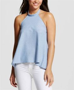 Try pairing a chambray tie-back halter top with white jeans or shorts.