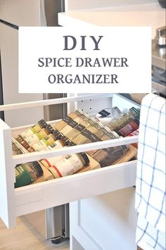 There are a few kitchen storage hacks that can help you make the most out of your space and not mix up your stuff. These hacks will ensure that you customize your area to be uniquely yours. It is enough pain to cook in a kitchen that doesn't have enough space; you shouldn't compound that pain by not knowing where what you need is. Kitchen Drawer Organization, Spice Organization, Diy Kitchen Storage, Cupboard Organizers, Organization Quotes, Diy Organizer, Pantry Storage, Bathroom Storage, Spice Drawer