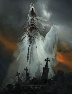 Horror Art by Ramses Melendez Dark Fantasy Art, Fantasy Artwork, Dark Art, Gothic Horror, Horror Art, Fantasy Creatures, Mythical Creatures, Ramses, Demon Art