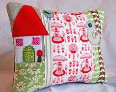 Love this pillow - Scandinavian Folk art fabric with applique house and birds