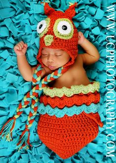 Newborn Orange Unisex Owl Hat and Cocoon Pod by JustDandyCreations, $68.00