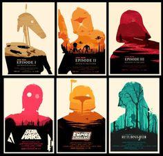 """Posters minimalistas de Star Wars. Muy bien conceptualizados tanto en los personajes emblemáticos de cada film como en los ambientes seleccionados (vía willsitforfood). """" Star Wars Saga Minimalist..."""