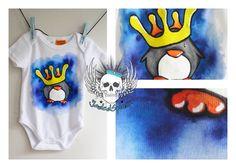 King Penguin custom baby onesie Custom Baby Onesies, King Penguin, Traditional Art, Art Forms, Body Art, Snoopy, Kids, Painting, Young Children