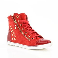 Red sneakers  MOD:735565131 Red Sneakers, High Top Sneakers, High Tops, Wedges, Shoes, Fashion, Moda, Zapatos, Shoes Outlet