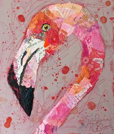 collage/paint flamingo by Elizabeth St. Created for reproduction by Pier One. Interesting mixed media lesson- collage/paint flamingo, use warm colors. collage/paint flamingo-great site for painted paper collages (birds) collage/paint flamingo would be gre Art Altéré, Fun Art, Art Du Collage, Kids Collage, Painting Collage, Mixed Media Painting, Classe D'art, Flamingo Art, Flamingo Painting