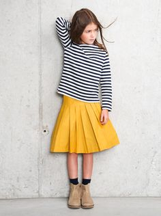 stripes and a yellow skirt - miller girls