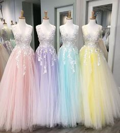 Floor Length Tulle V Neck Prom Dresses with Appliques Floor Length T. - Floor Length Tulle V Neck Prom Dresses with Appliques Floor Length Tulle V Neck Prom Dresses with Appliques Source by - Pretty Prom Dresses, V Neck Prom Dresses, Sweet 16 Dresses, Tulle Prom Dress, Grad Dresses, Dance Dresses, Ball Dresses, Homecoming Dresses, Cute Dresses