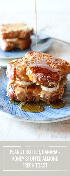 Peanut Butter, Banana & Honey Stuffed Almond Crusted French Toast | http://thenoshery.com/?utm_campaign=coschedule&utm_source=pinterest&utm_medium=The%20Noshery&utm_content=Peanut%20Butter%2C%20Banana%20and%20Honey%20Stuffed%20Almond%20Crusted%20French%20Toast