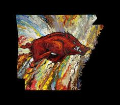 Archival Print on Canvas of The Arkansas Razorback on Black Background – patmatthewsprints.com