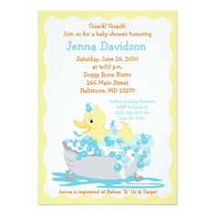 Yellow Duck in Tub Baby Shower Invitation