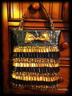 Gold, leopard and black Duck Tape purse