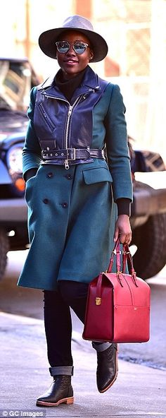 The 32-year-old actress looked every inch the A-Lister in a stylish bottle green coat with biker vest detail as she headed to the Public Theater in Manhattan