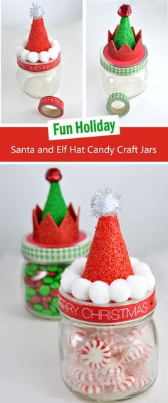 These Santa and Elf Hat Candy Craft Jars are the perfect budget-friendly gift.