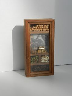 Vintage Country Display. Miniature collectable wood-framed Quaker seed farm display with Quaker wagon. on Etsy, $12.00